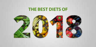 the best diets of 2018 with fruits and vegetables background