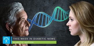 old woman and young woman linked by DNA chain