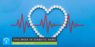aspirin in the shape of heart over blue heart rate monitor background