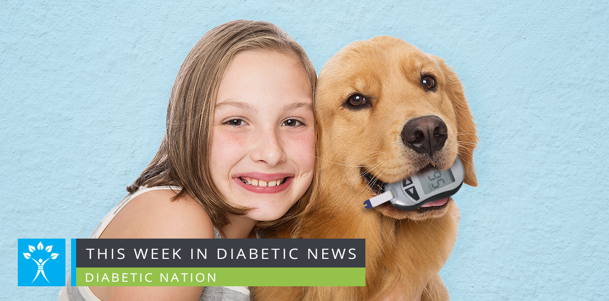 little girl hugs golden retriever with glucose monitor in mouth