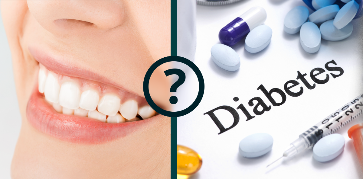smiling mouth next to pills with word diabetes