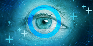 eye with diabetes symbol over blue background