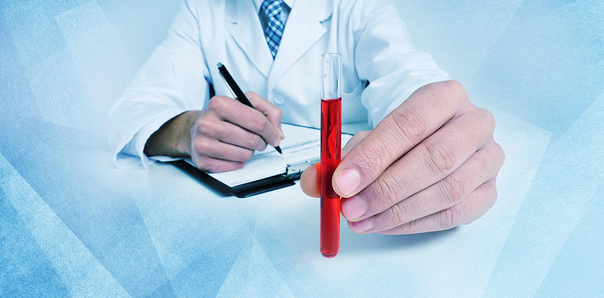 doctor holding vial of blood, writing on clipboard