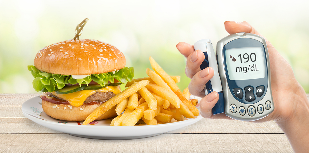 plate with burger and fries with glucose monitor