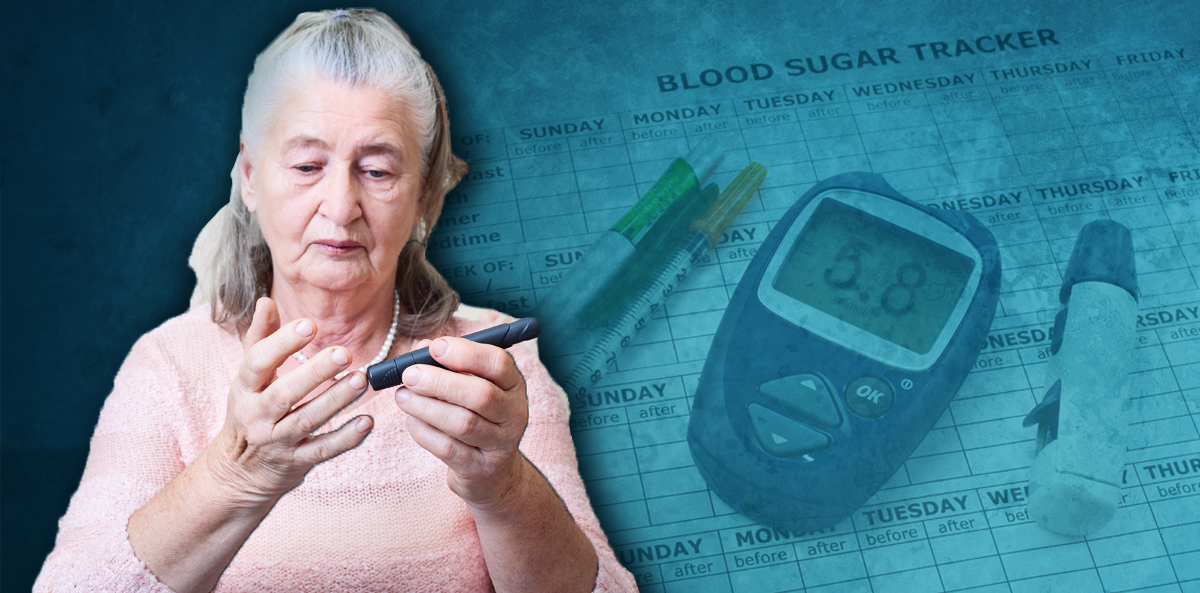 woman with grey hair checking blood sugar
