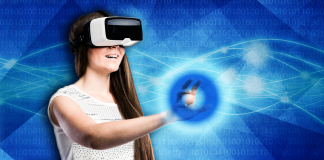 girl wearing VR headset reaching out to diabetes symbol over blue background