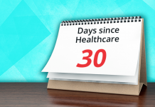calendar showing days since healthcare 30