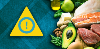 pile of food beside warning sign; ketogenic diet could leave to type 2 diabetes