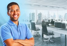 man standing in open office plan