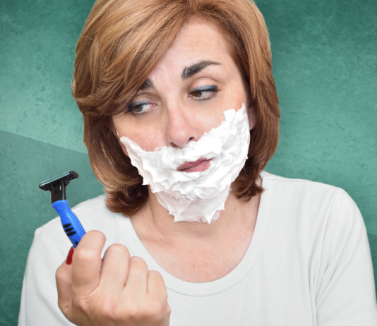 PCOS, diabetes, woman with shaving cream on face holding razor