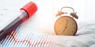 vial of blood next to alarm clock; dawn phenomenon