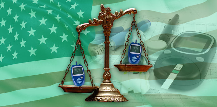 scales with diabetes over green background
