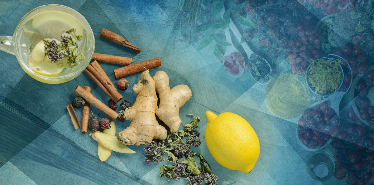 herbs on table over blue background; complementary and alternative medicine to treat diabetes