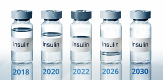 insulin shortage by 2030; insulin bottles with decreasing levels of insulin