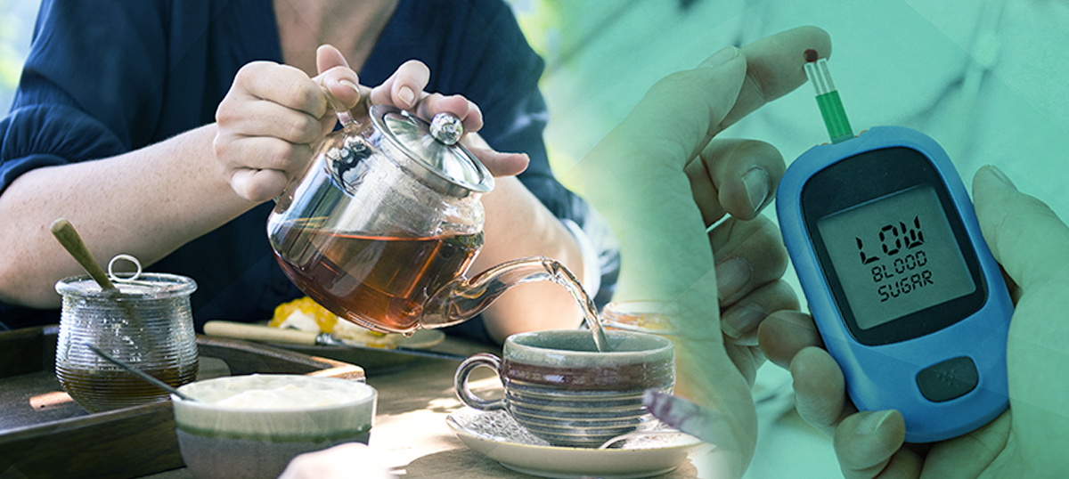 tea to treat diabetes; person pouring tea next to cgm