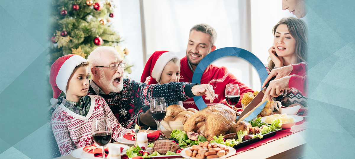 family eating; tips for eating holiday meals with diabetes