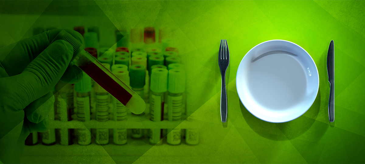 plate next to blood vials; fasting before blood draw harmful
