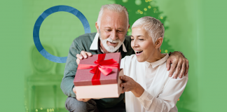 holiday gift guide diabetes, diabetes news, older couple opening Christmas gift