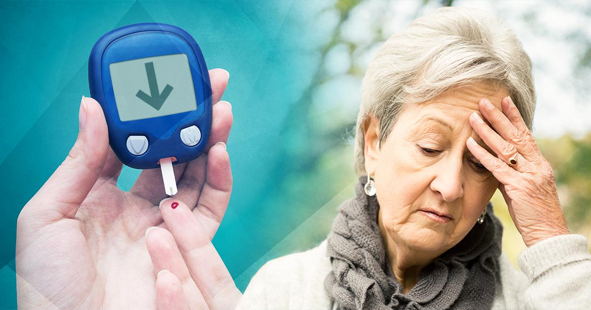 woman having migraine next to cgm; migraine type 2 diabetes