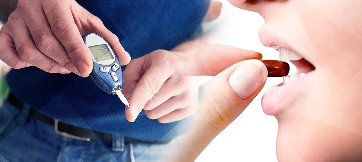 person testing blood sugar, taking pill; oral insulin future of diabetes treatment