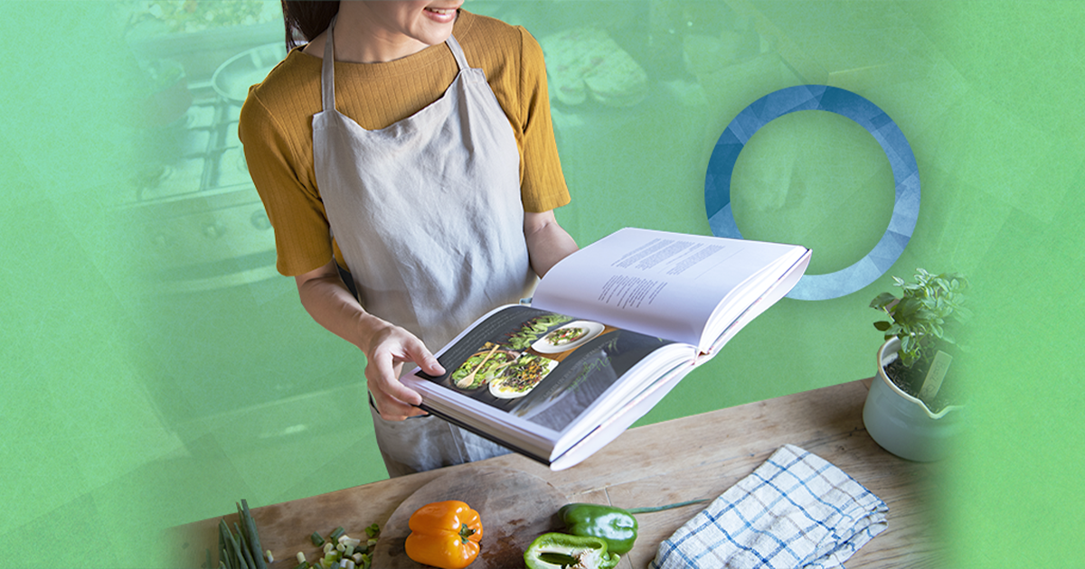 diabetes, diabetic cookbooks, top diabetes news, headlines, woman in apron reading cookbook