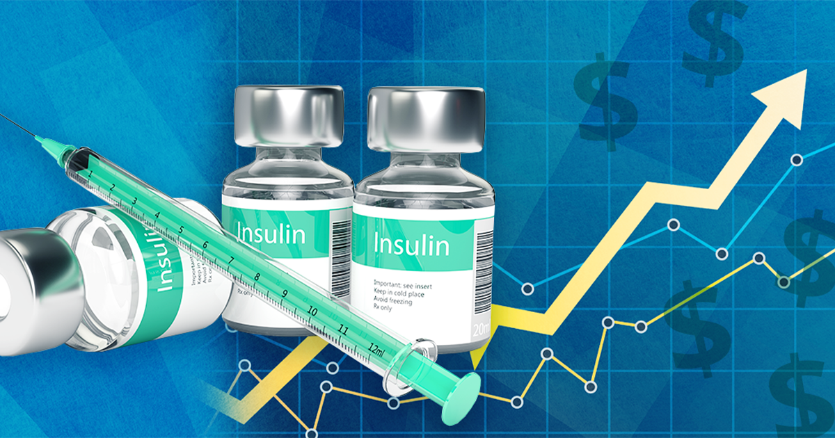 bottles of insulin with chart going up; medicare spending on insulin
