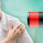 woman holding shoulder next to depleting battery; chronic pain and fatigue