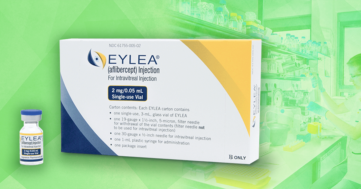 box of eylea injections in front of scientist