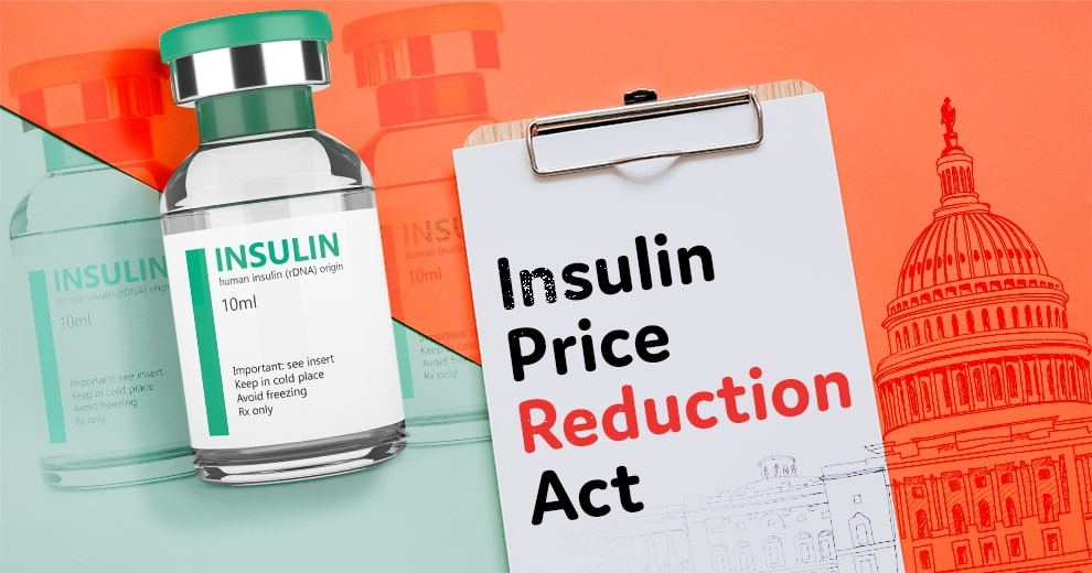 clip board with insulin price reduction act next to vial of insulin; cut insulin costs by 75 percent